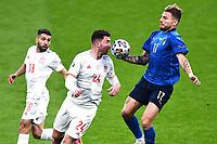 6th July 2021; Wembley Stadium, London, England; Euro 2020 Football Championships semi-final, Italy versus Spain; Ciro Immobile brings down th eball ahead of Aymeric Laporte and Jordi Alba (Esp)