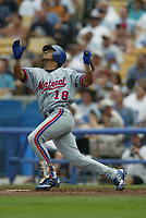 Orlando Cabrera of the Montreal Expos during a 2003 season MLB game at Dodger Stadium in Los Angeles, California. (Larry Goren/Four Seam Images)