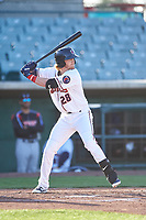 Lancaster JetHawks first baseman Taylor Snyder (28) during a California League game against the Lake Elsinore Storm on April 10, 2019 at The Hangar in Lancaster, California. Lake Elsinore defeated Lancaster 10-0 in the first game of a doubleheader. (Zachary Lucy/Four Seam Images)