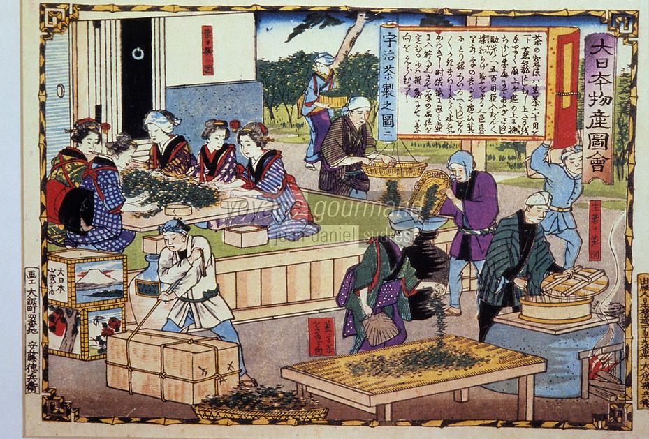 Asie/Japon/Nara: Détail d'estampes japonaises sur le tri du thé