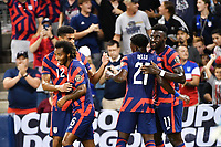 KANSAS CITY, KS - JULY 15: Gianluca Busio #6 ,Miles Robinson #12,George Bello #21  and Daryl Dike #11 of the United States celebrate a goal during a game between Martinique and USMNT at Children's Mercy Park on July 15, 2021 in Kansas City, Kansas.