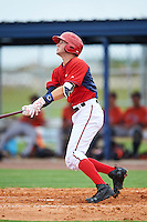 GCL Nationals shortstop Carter Kieboom (9) hits a home run during a game against the GCL Astros on August 14, 2016 at the Carl Barger Baseball Complex in Viera, Florida.  GCL Nationals defeated GCL Astros 8-6.  (Mike Janes/Four Seam Images)