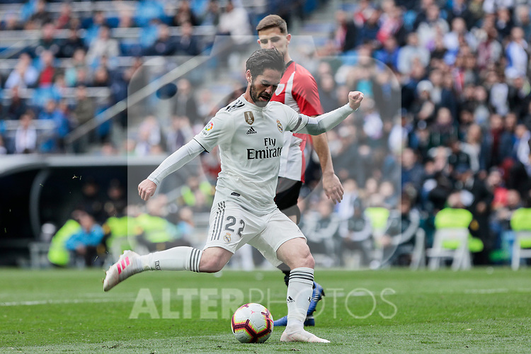 Real Madrid's Francisco Alarcon 'Isco' during La Liga match between Real Madrid and Athletic Club de Bilbao at Santiago Bernabeu Stadium in Madrid, Spain. April 21, 2019. (ALTERPHOTOS/A. Perez Meca)