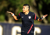 MIAMI, FL - DECEMBER 21, 2012:  Mario Rodriguez of the USA MNT U20 after scoring during a closed scrimmage with the Venezuela U20 team, on Friday, December 21, 2012, At the FIU soccer field in Miami.  USA won 4-0.