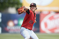 Kannapolis Intimidators starting pitcher Taylor Varnell (29) in action against the Lexington Legends at Kannapolis Intimidators Stadium on May 15, 2019 in Kannapolis, North Carolina. The Legends defeated the Intimidators 4-2. (Brian Westerholt/Four Seam Images)