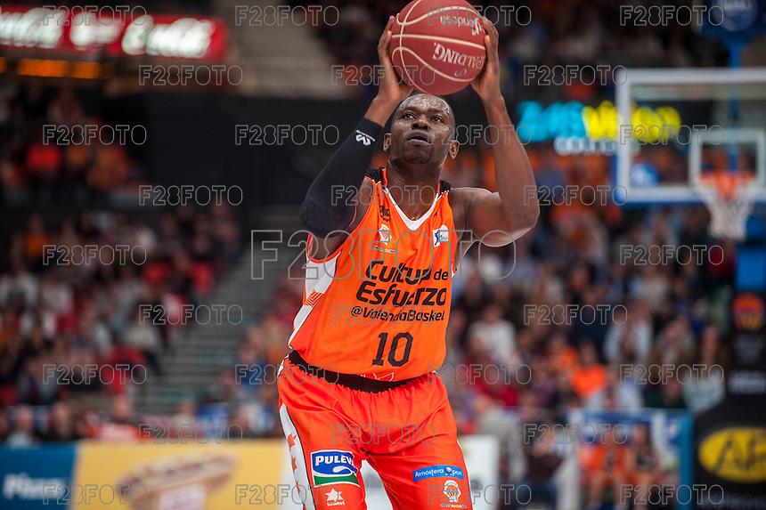 VALENCIA, SPAIN - NOVEMBER 22: Romain Sato during Endesa League match between Valencia Basket Club and Retabet.es GBC at Fonteta Stadium on November 22, 2015 in Valencia, Spain