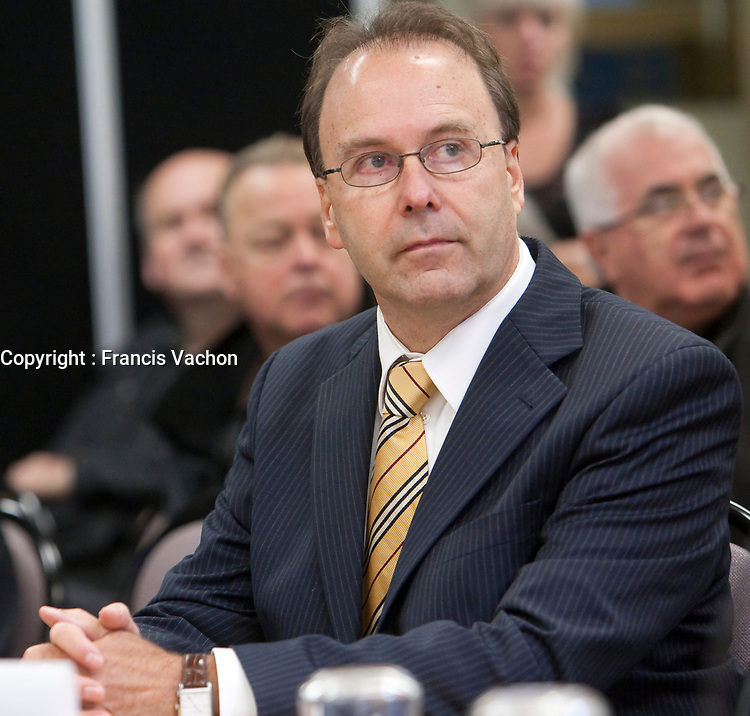 Former justice minister Marc Bellemare waits for his testimony to begin at the Inquiry Commission into the appointment process for judges, more well know as the Commission Bastarche, September 16, 2010 in Quebec City.<br /> <br /> PHOTO :  Francis Vachon - Agence Quebec Presse