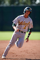 Oakland Athletics Steven Pallares (4) during an instructional league game against the San Francisco Giants on October 12, 2015 at the Giants Baseball Complex in Scottsdale, Arizona.  (Mike Janes/Four Seam Images)