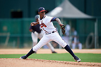 GCL Braves starting pitcher Albinson Volquez (36) delivers a pitch during the second game of a doubleheader against the GCL Yankees West on July 30, 2018 at Champion Stadium in Kissimmee, Florida.  GCL Braves defeated GCL Yankees West 5-4.  (Mike Janes/Four Seam Images)
