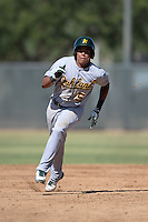 Oakland Athletics shortstop Yairo Munoz (5) during an Instructional League game against the Milwaukee Brewers on October 10, 2013 at Maryvale Baseball Park Training Complex in Phoenix, Arizona.  (Mike Janes/Four Seam Images)