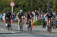 Te Awamutu Cycling's Burnie McGrath (right) wins the Under-19 Men's road race, Carterton-Martinborough-Gladstone circuit, on day two of the 2018 NZ Age Group Road Cycling Championships in Carterton, New Zealand on Sunday, 22 April 2018. Photo: Dave Lintott / lintottphoto.co.nz