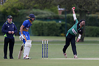 Akhil Anil in bowling action for Ilford during Upminster CC (batting) vs Ilford CC, Hamro Foundation Essex League Cricket at Upminster Park on 8th May 2021