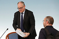 Italian Minister of Economy Roberto Gualtieri<br /> Rome March 5th 2020. Press conference at the end of the Italian Council of Ministers about the economic impact of Coronavirus (Covid-19) outbreak and about the measures the Government will take to face up the crisis.<br /> Photo Samantha Zucchi Insidefoto