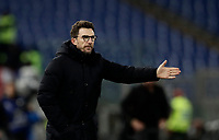Calcio, Serie A: AS Roma - AC Milan, Roma, stadio Olimpico, 25 febbraio, 2018.<br /> Roma's coach Eusebio Di Francesco gestures during the Italian Serie A football match between AS Roma and AC Milan at Rome's Olympic stadium, February 28, 2018.<br /> UPDATE IMAGES PRESS/Isabella Bonotto