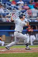 Staten Island Yankees third baseman Drew Bridges (18) at bat during a game against the Batavia Muckdogs on August 27, 2016 at Dwyer Stadium in Batavia, New York.  Staten Island defeated Batavia 13-10 in eleven innings.  (Mike Janes/Four Seam Images)