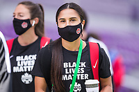 ORLANDO, FL - FEBRUARY 24: Jordyn Listro #21 of the CANWNT walks into the stadium before a game between Brazil and Canada at Exploria Stadium on February 24, 2021 in Orlando, Florida.