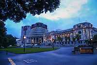 NZ Parliament buildings, Wellington CBD at 7.30am, Wednesday during Level 4 lockdown for the COVID-19 pandemic in Wellington, New Zealand on Wednesday, 18 August 2021.