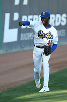 Yadier Alvarez (40) of the Rancho Cucamonga Quakes warms up before pitching against the Modesto Nuts at LoanMart Field on June 5, 2017 in Rancho Cucamonga, California. Rancho Cucamonga defeated Modesto, 7-5. (Larry Goren/Four Seam Images)