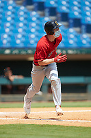 Casey Saucke (41) of Greece Athena HS in Rochester, NY playing for the Boston Red Sox scout team during the East Coast Pro Showcase at the Hoover Met Complex on August 3, 2020 in Hoover, AL. (Brian Westerholt/Four Seam Images)
