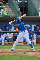 Sauryn Lao (3) of the Ogden Raptors at bat against the Grand Junction Rockies at Lindquist Field on July 23, 2019 in Ogden, Utah. The Raptors defeated the Rockies 11-4. (Stephen Smith/Four Seam Images)