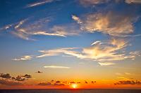 Colorful Saint Thomas Island sunset on the sea, in the British Virgin Islands, part of the Caribbean Leeward Islands