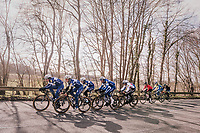 The Team Quickstep Floors race take-over: hijacking it by simply riding off the front of the peloton with 7 (!) riders of the team (and 3 hangers-on holding on for dear life...).<br /> <br /> 50th GP Samyn 2018<br /> Quaregnon > Dour: 200km (BELGIUM)