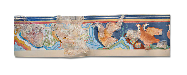 The Minoan 'Partridge Fresco', wall art from the  'Guset House' Knossos Palace, 1600-140 BC. Heraklion Archaeological Museum.  White Background. <br /> <br /> This Minoan fresco was painted in vivid colours using fine brush strokes and colour gradients. It portrays partridges , commonly found in Crete, among rocks and thopical Cretian flora. It decorated the pavillion in the so called 'Guset House' or 'Caravanserai.