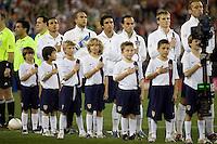 USA team during the national anthem. USA 2, Mexico 0, at the University of Phoenix Stadium in Glendale, AZ on February 7, 2007.