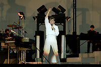 Peter Gabriel<br />  en spectacle, le 20 juillet 1983, a la Place des nations<br /> <br /> PHOTO : Agence Quebec Presse