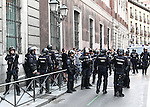 "The police intervened to control people of the manifestation of far-right group , Hogar Social Madrid under the slogan "" Defend Spain , defend your people "", in the streets of Gran Via , San Bernardo and Plaza Dos de Mayo.  May 21, 2016. (ALTERPHOTOS/Rodrigo Jimenez)"