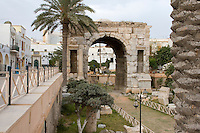 Tripoli, Libya - Marcus Aurelius Roman Arch, 163-64 A.D., Tripoli Medina (Old City).  Note the level of the city when the arch was built, compared to the street level today.