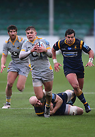 14th February 2021; Sixways Stadium, Worcester, Worcestershire, England; Premiership Rugby, Worcester Warriors versus Wasps; Charlie Atkinson of Wasps slips the tackle from Matt Kvesic of Worcester Warriors