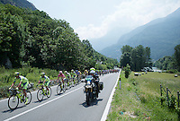maglia rosa Alberto Contador (ESP/Tinkoff-Saxo) protected by his teammates on their way to todays (3) mountain climbs<br /> <br /> Giro d'Italia 2015<br /> stage 19: Gravellona Toce - Cervinia (236km)