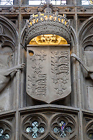 UK, England, Cambridge.  King's College Chapel, the Royal Coat of Arms of England, including the Fleur de Lys, representing the king's rule over France.