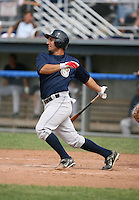 Osiel Flores of the Mahoning Valley Scrappers, Class-A affiliate of the Cleveland Indians, during the New York-Penn League season.  Photo by:  Mike Janes/Four Seam Images