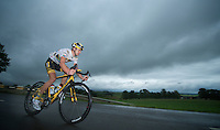 Jay Thomson (RSA) leading the stage for most of the day<br /> <br /> 2013 Skoda Tour de Luxembourg<br /> stage 1: Luxembourg - Hautcharage (184km)