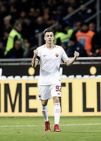 Calcio, Serie A: Inter - Roma, Milano, stadio Giuseppe Meazza (San Siro), 21 gennaio 2018.<br /> Roma's Stephan El Shaarawy celebrates after scoring during the Italian Serie A football match between Inter Milan and AS Roma at Giuseppe Meazza (San Siro) stadium, January 21, 2018.<br /> UPDATE IMAGES PRESS/Isabella Bonotto