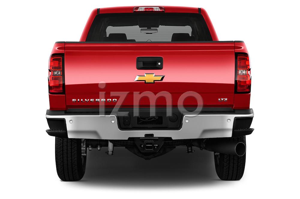 Straight rear view of a 2015 Chevrolet Silverado 2500 4 Door Van stock images