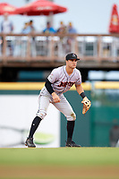 Jupiter Hammerheads second baseman Riley Mahan (2) during a game against the Bradenton Marauders on May 25, 2018 at LECOM Park in Bradenton, Florida.  Jupiter defeated Bradenton 3-2.  (Mike Janes/Four Seam Images)