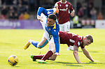 Arbroath v St Johnstone…15.08.21  Gayfield Park      Premier Sports Cup<br />Michael O'Halloran is taken out by Colin Hamilton<br />Picture by Graeme Hart.<br />Copyright Perthshire Picture Agency<br />Tel: 01738 623350  Mobile: 07990 594431