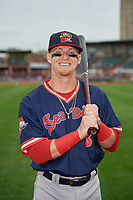 Portland Sea Dogs Brett Netzer (3) poses for a photo before an Eastern League game against the Erie SeaWolves on June 17, 2019 at UPMC Park in Erie, Pennsylvania.  Portland defeated Erie 6-3.  (Mike Janes/Four Seam Images)