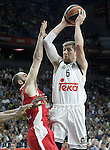Real Madrid's Andres Nocioni (r) and Olympiacos Piraeus' Vassilis Spanoulis during Euroleague Final Match. May 15,2015. (ALTERPHOTOS/Acero)