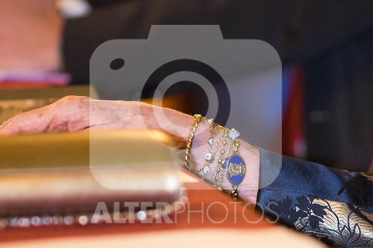 Queen Sofia's jewels  during the Poetry Awards Gala at Royal Palace in Madrid. November 22 2019. (Alterphotos/Francis Gonzalez)