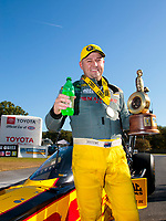 Sep 15, 2019; Mohnton, PA, USA; NHRA top fuel driver Richie Crampton celebrates after winning the Reading Nationals at Maple Grove Raceway. Mandatory Credit: Mark J. Rebilas-USA TODAY Sports