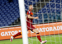 Roma s Edin Dzeko reacts after scoring during the Serie A soccer match between Roma and Benevento at Rome's Olympic Stadium, October 18, 2020.<br /> UPDATE IMAGES PRESS/Riccardo De Luca