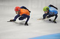 SHORTTRACK: DORDRECHT: Sportboulevard Dordrecht, 25-01-2015, ISU EK Shorttrack, Relay Men Final, Sjinkie KNEGT (NED   #1), Victor AN (RUS   #60), ©foto Martin de Jong
