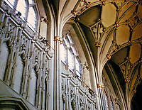 Wells Cathedral: detail of the vaulting and windows in the Cathedral Choir. Gothic Architecture
