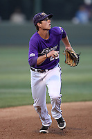 Keaton Jones # 26 of the TCU Horned Frogs in the field against the UCLA Bruins at the Los Angeles super regionals at Jackie Robinson Stadium on June 9, 2012 in Los Angeles,California. UCLA defeated TCU 4-1.(Larry Goren/Four Seam Images)