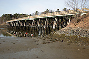 Bridge on Route 103 in York Harbor during the spring  months. Located in York, Maine  USA,  which is on the New England seacoast.  .