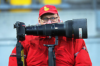 Photographer Ross Setford waits for the teams to run out for the Mitre 10 Cup rugby union match between Wellington Lions and Waikato at Westpac Stadium in Wellington, New Zealand on Saturday, 15 October 2016. Photo: Dave Lintott / lintottphoto.co.nz